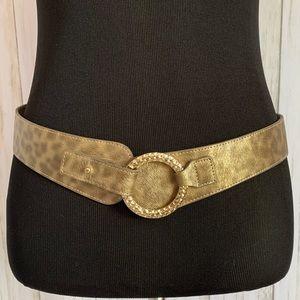 Chico's gold leopard print adjustable belt - M/L